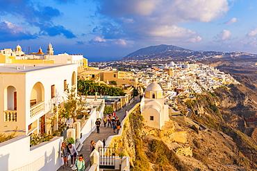View of Fira and Greek Church of Saint Stylianos, Firostefani, Santorini (Thira), Cyclades Islands, Greek Islands, Greece, Europe