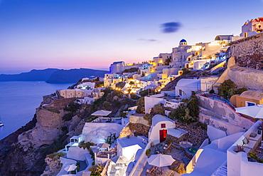 View of Oia village at dusk, Santorini, Cyclades, Aegean Islands, Greek Islands, Greece, Europe
