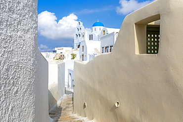 Alleyway by Agios Nikolaos Theotokaki church in Pyrgos, Santorini, Greece, Europe