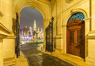 View of Rathaus from Burgtheater at night, Vienna, Austria, Europe