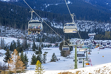Cable cars in Carezza, Italy, Europe