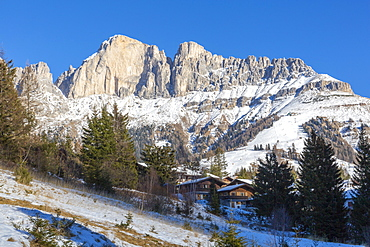Mountains during winter in Carezza, Italy, Europe