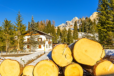 Logs by house in snow in Carezza, Italy, Europe
