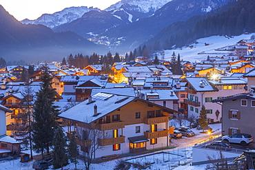 Campitello di Fassa during winter in Italy, Europe