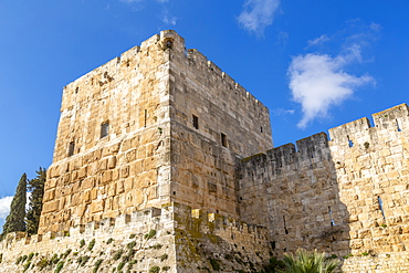 View of Old City Wall at Jaffa Gate, Old City, UNESCO World Heritage Site, Jerusalem, Israel, Middle East