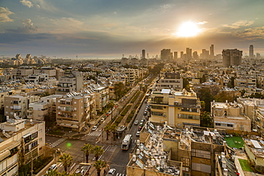 Sunrise over Tel Aviv's city skyscrapers, Tel Aviv, Israel, Middle East