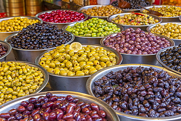 View of olives and beans on stall in Had veHalak Market on Ha Carmel Street, Tel Aviv, Israel, Middle East