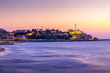 View of ancient Arabic seaport of Jaffa at dusk, Tel Aviv, Israel, Middle East