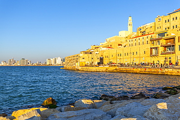 View of Jaffa Old Town and Tel Aviv at sunset, Tel Aviv, Israel, Middle East