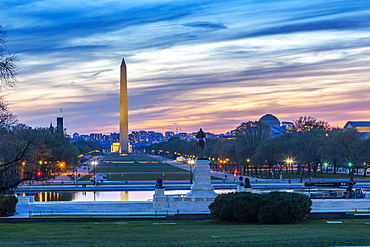 View of the Washington Monument and National Mall at sunset, Washington D.C., United States of America, North America