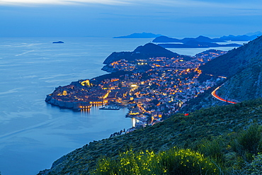 View of the Old Walled City of Dubrovnik at dusk, UNESCO World Heritage Site, Dubrovnik Riviera, Croatia, Europe