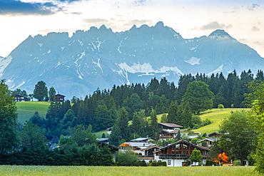 View of Reith bei Kitzbuhel and Wilder Kaiser mountain range, Tyrol, Austrian Alps, Austria, Europe