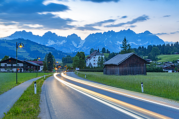 View of Reith bei Kitzbuhel and Wilder Kaiser mountain range, Tirol, Austrian Alps, Austria, Europe