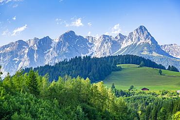 View of Fritzerkogel mountain peak from near Nischofshofen, Upper Austria region of the Alps, Salzburg, Austria, Europe