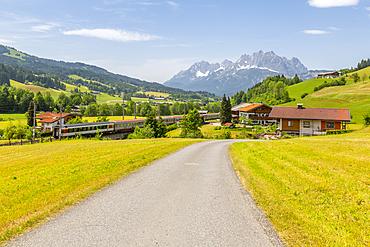 View of trainline and Ellmauer Halt Mountain peak near St. Johann, Austrian Alps, Tyrol, Austria, Europe