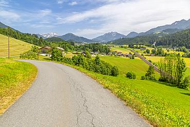 View of trainline and countryside near St. Johann, Austrian Alps, Tyrol, Austria, Europe