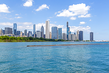 View of Chicago skyline from Lake Michigan taxi boat, Chicago, Illinois, United States of America, North America