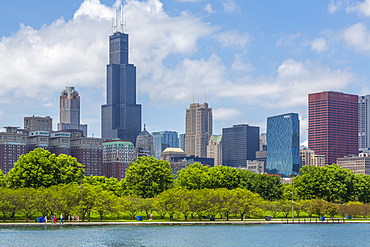 View of Chicago skyline and Willis Tower from Lake Michigan taxi boat, Chicago, Illinois, United States of America, North America