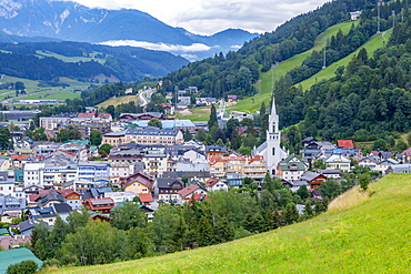 View of Evangelist church and Schladming town, Styria, Austrian Tyrol, Austria, Europe