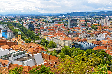 View of cityscape from the Clock Tower, Graz, Styria, Austria, Europe
