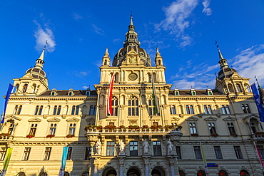 View of colourful Rathaus bathed in late sunlight, Graz, Styria, Austria, Europe
