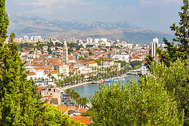Panoramic view from above Split Town and Cathedral of Saint Domnius, Split, Dalmatian Coast, Croatia, Europe
