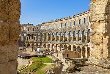 View of the Roman Amphitheatre against blue sky, Pula, Istria County, Croatia, Adriatic, Europe