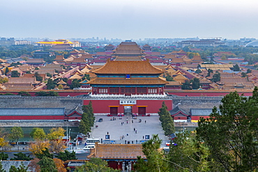 View of the Forbidden City, UNESCO World Heritage Site, from Jingshan Park at sunset, Xicheng, Beijing, People's Republic of China, Asia
