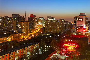 Elevated view of city near Beijing Zoo at dusk, Beijing, People's Republic of China, Asia