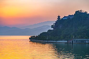 View of Shi Baozhai Pagoda at sunset on Yangtze River near Wanzhou, Chongqing, People's Republic of China, Asia