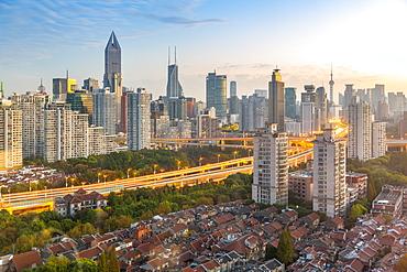 View of Shanghai skyline at sunrise, Luwan, Shanghai, China, Asia