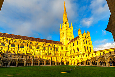 Norwich Cathedral from the cloister, Norwich, Norfolk, East Anglia, England, United Kingdom, Europe