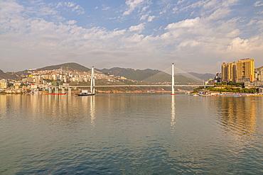View of Badong Changjiang Bridge on the Yangtze River, Enshi City, Badong County, People's Republic of China, Asia