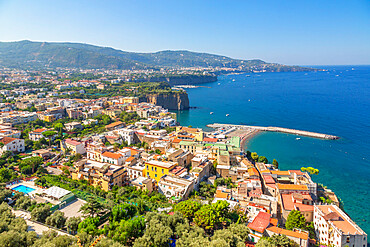 View of Sorrento and the Bay of Naples in Sorrento, Campania, Italy, Europe