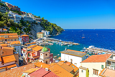 View of Spiaggia di Sorrento, public beach and harbour, Sorrento, Campania, Italy, Europe
