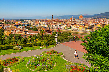 View of Florence seen from Piazzale Michelangelo Hill, Florence, Tuscany, Italy, Europe
