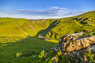 View of Winnats Pass, Hope Valley, Castleton, Peak District National Park, Derbyshire, England, United Kingdom, Europe