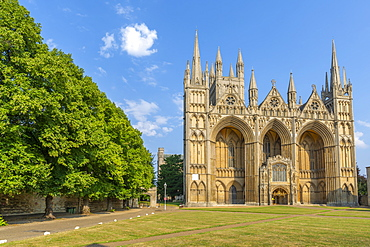 View of Gothic facade of Peterborough Cathedral from Dean's Court, Peterborough, Northamptonshire, England, United Kingdom, Europe