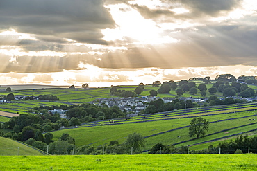 View of Tideswell and countryside near Litton, Peak District National Park, Derbyshire, England, United Kingdom, Europe