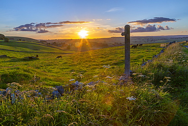View of sunset, footpath sign and countryside near Wardlow, Peak District National Park, Derbyshire, England, United Kingdom, Europe