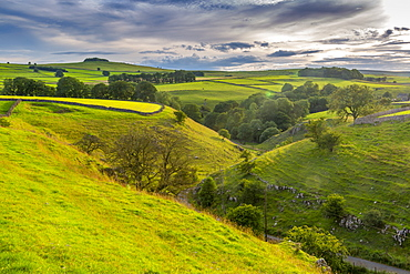 View of landscape near Whetton, Tideswell, Peak District National Park, Derbyshire, England, United Kingdom, Europe