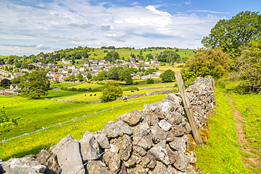View of dry stone walls and Brassington, Derbyshire Dales, Derbyshire, England, United Kingdom, Europe