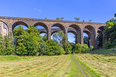View of twin railway viaduct at Chapel Milton, Derbyshire, England, United Kingdom, Europe