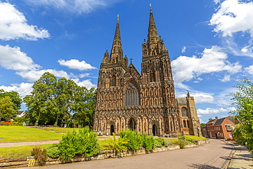 View of Lichfield Cathedral West facade from The Close, Lichfield, Staffordshire, England, United Kingdom, Europe