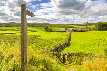 View of footpath sign and farmland, Tissington, Peak District National Park, Derbyshire, England, United Kingdom, Europe