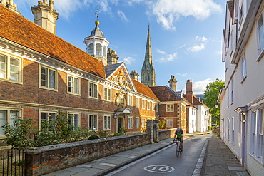 View of High Street and Salisbury Cathedral in background, Salisbury, Wiltshire, England, United Kingdom, Europe