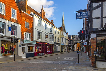 View of shops and bars on High Street, Salisbury, Wiltshire, England, United Kingdom, Europe