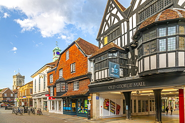 View of Old George Mall, shops and bars on High Street, Salisbury, Wiltshire, England, United Kingdom, Europe