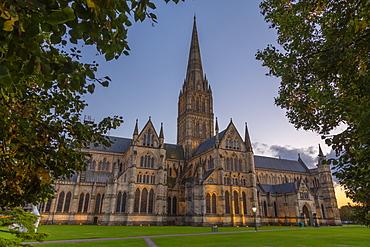 View of Salisbury Cathedral at dusk, Salisbury, Wiltshire, England, United Kingdom, Europe