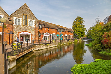 View of The Maltings and River Avon, Salisbury, Wiltshire, England, United Kingdom, Europe